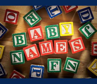 Image of building blocks that spells baby names