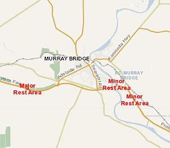 Map of rest areas around Murray Bridge