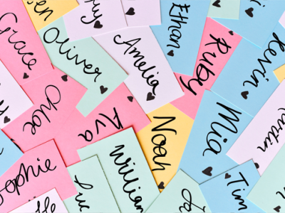 Image with baby names written on cards