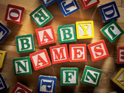 Image of building blocks that spells baby names